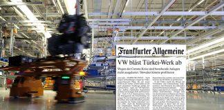 Πλήγμα για την Τουρκία η ακύρωση της κατασκευής του εργοστασίου της VW