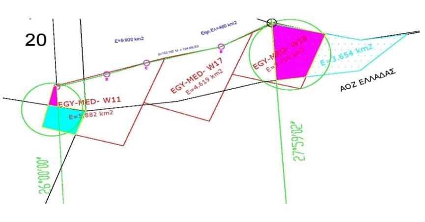Σχήμα 2: Προεκτάσεις των θαλασσοτεμαχίων ένθεν και ένθεν των μεσημβρινών 26 και 28 μοιρών