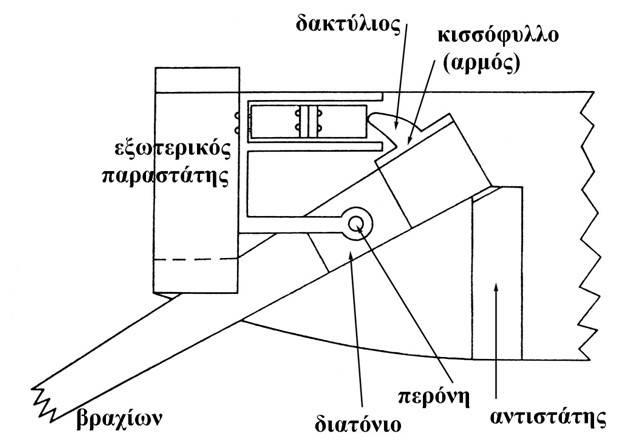 Κάτοψη του συστήματος του βραχίονος και της ελασματοφόρου διάταξης του χαλκοτόνου (Εric Marsen: ANCIENT GREEK AND ROMAN ARTILLERY, TECHNICAL TREATISES, Oxford, 1971).