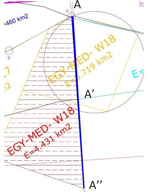 """Σχήμα 7: Εμβαδόν του EG-MED-W18 που περιλαμβάνεται ανατολικά του 27° 59´ 02""""μεσημβρινού μέχρι τον 28ο ( μπλε κάθετη ζώνη= 174 τετρ. Χλμ.)."""